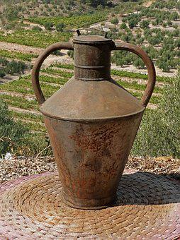 Jar, Oil, Old, Sheet Metal, Carafe