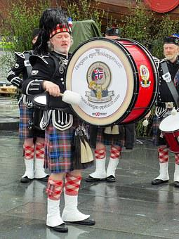 Norway, Musician, Kilt, Bass Drum