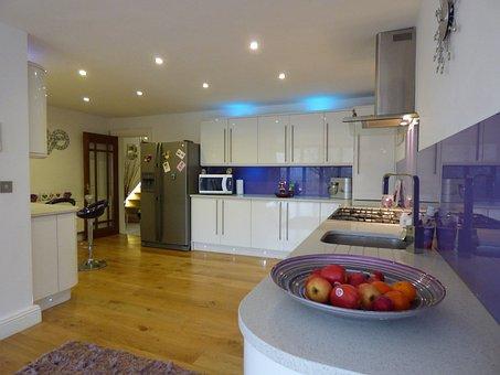 Kitchen, Home, White, Gloss, Interior, Luxury, House