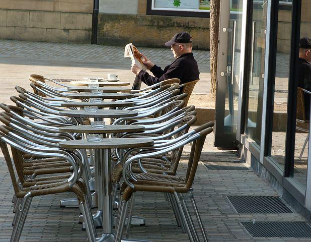 Morning, Spring, City, Dining Tables, Newspaper Readers