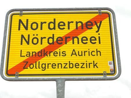 Town Sign, Norderney, Stationary