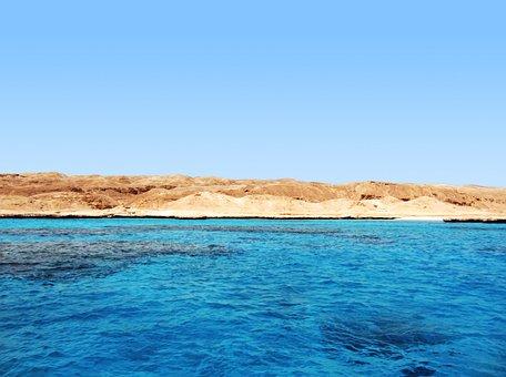 Blue Sea, Island, Ocean, Coast, Arid, Hot, Day, Shore