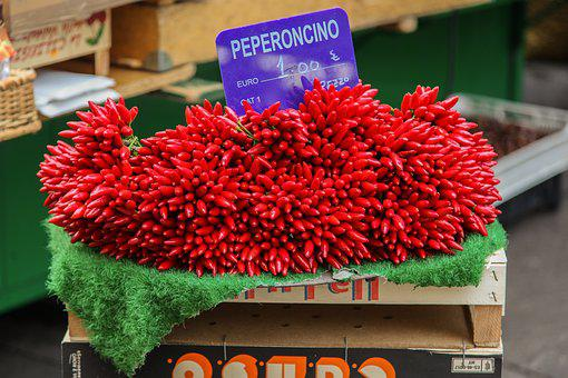 Pepperoni, Chilli, Market, Color, Red, Italy