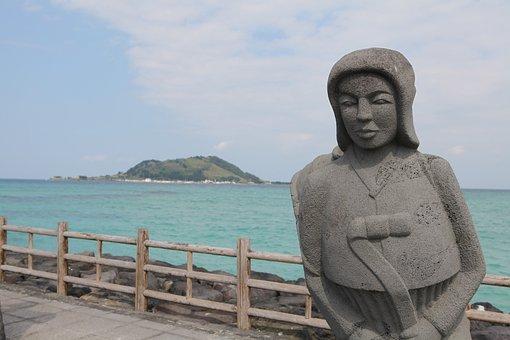 Jeju Island, Sea, Jeju, Island, Sky, Waves, Hallym-eup