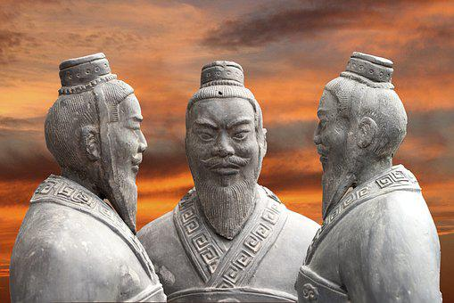 China, Sunset, Stature, Fig, Soldier, Clay Figures