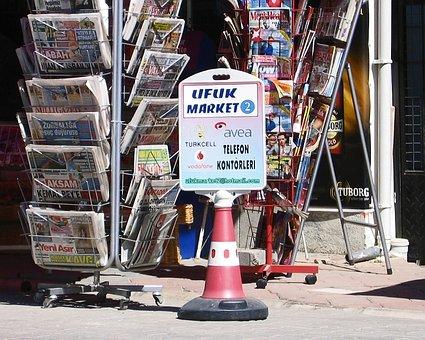 Turkey, Dalyan, Newspapers, Comical