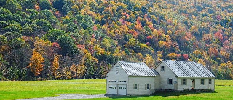 Autumn Leaves, Vermont, Haouse, Home, Fat, Autumn