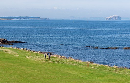 People, Golf Course, Golf, Walking, Landscape, Sea
