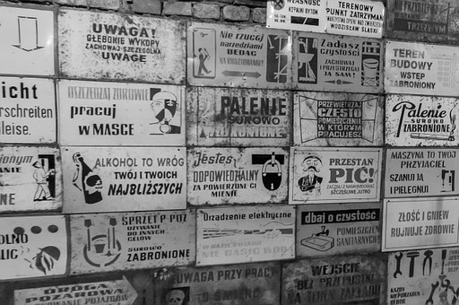 Poland, Gold Slope, Wall, An Array Of, Plates