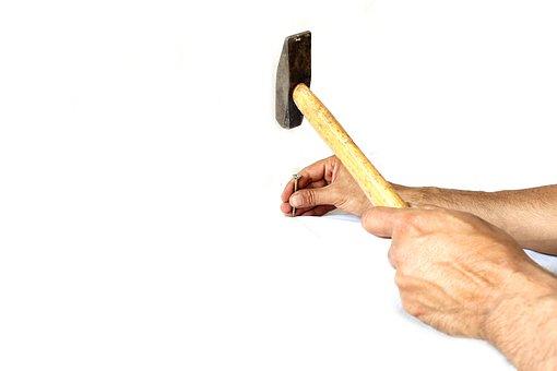 Hammer, Employee, White, Stone, Man, Chisel