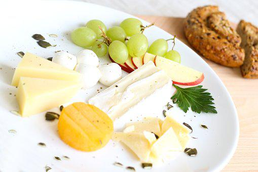 Cheese, Whole Wheat Bread, Cheese Plate, Apple, Grapes