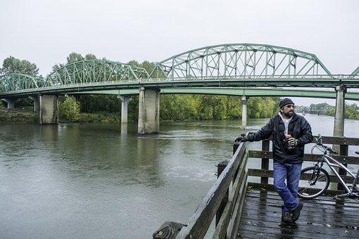 Bridge, Biker, River, Willamette, Cigarette, Rainy
