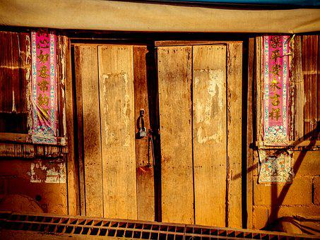Door, Wood, Old House, Wooden, Chines House