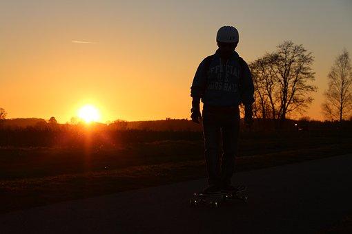 Skate Board, Skate, Sunset, Sport, Youth