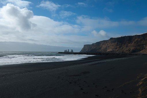 Vik, Black Sand Beach, Iceland, Beach, Reynisdrangar