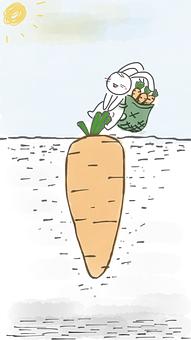 Rabbit Pulling Carrot, Rabbit, Carrot, Bunny, Cartoon