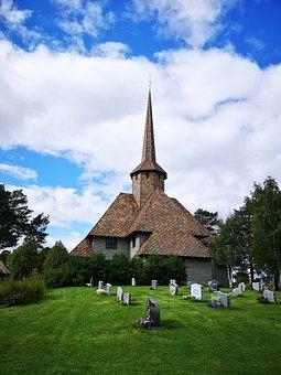 Cemetery, Church, Nordic, Norway, Graveyard