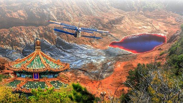 Italy, Elba, Lake, Red, Iron Ore Mine, Mine, Vacation