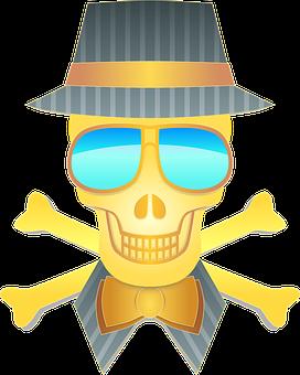 Hat, Skull, Sunglasses, Man, Person, Strange, Yellow