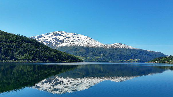 Mirroring, Fjord, Mountain, Norway, The Fjord, Water