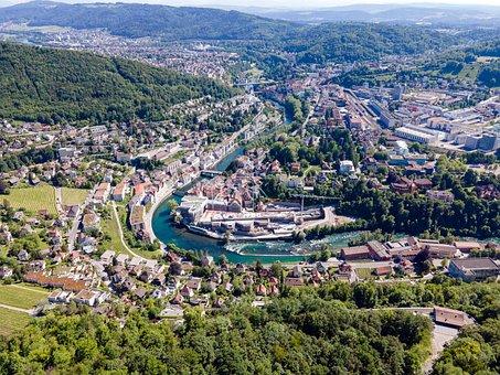 Switzerland, Swim, Aargau, City, Limmat