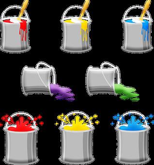 Paint Cans, Paint, House Paint, Spilled Paint, Colorful