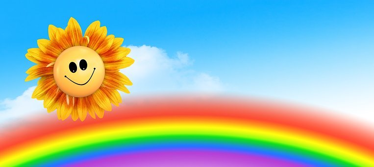 Sun, Rainbow, Clouds, Joy, Positive, Laugh