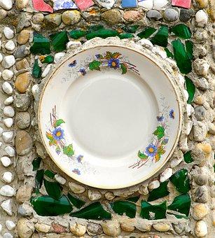 Mosaic, Garden Wall, Plate, Art