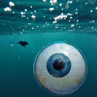 Water, Eye, Eyeball, Underwater, Bubble, Diving, Swim
