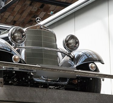 Grille, Spotlight, Mercedes, Oldtimer, Auto, Automotive