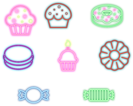 Neon Cakes, Sweets, Bakery, Shop, Sweetshop, Cafe
