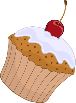 Cupcake, Cake, Cherry, Stalk, Icing, Frosting