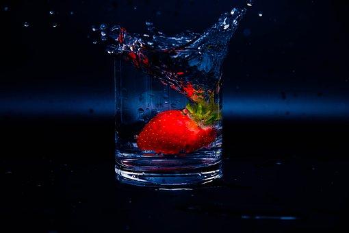 Splash, Summer, Strawberry, Cold, Explosion, Square