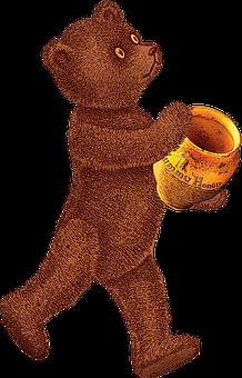 Vintage, Teddy Bear, Honey Pot, Bear, Teddy, Honey, Pot