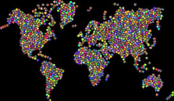 Snowflake, World, Map, Earth, Decorative, Decoration