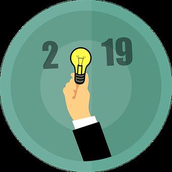 Happy New Year, Ideas, 2019, Bulb, Creativity, Design