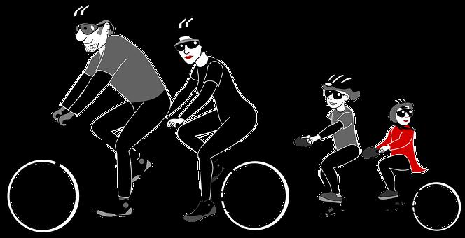 Bicycle, Bike Kids, Boy, Dad, Family