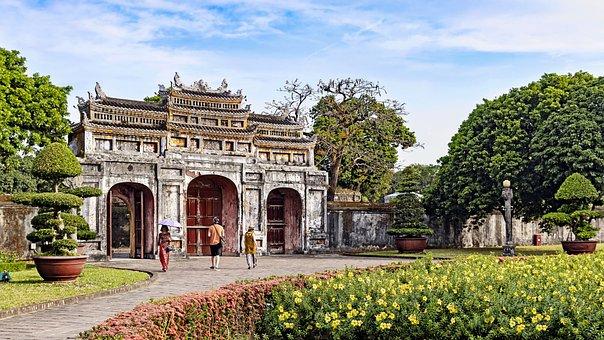 Landscape, Hue, Vietnam, Old, Flower, Blue Sky, Gate