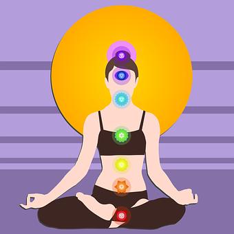 Chakras, Yoga, Meditation, Silhouette