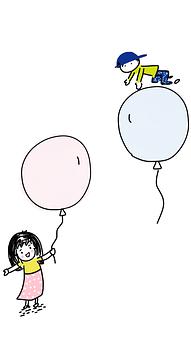 Boy And Girl, Balloons, Boy, Girl, Childhood, Fun