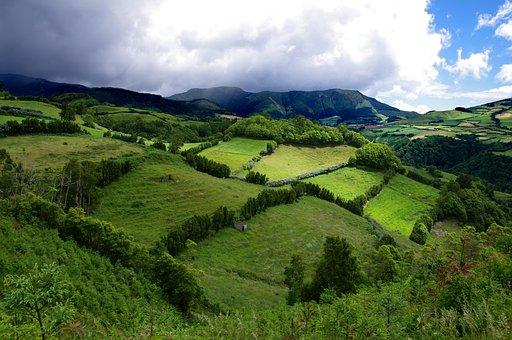 Azores, Cloud, Grass, Green, Hedge, Hill, Hills, Island