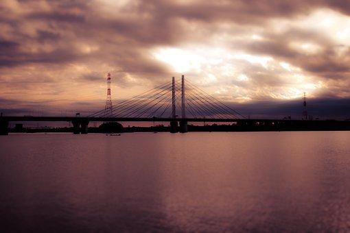 Lake, Evening View, Bridge