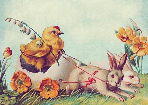 Osterkarte, Easter, Vintage, Easter Bunny, Easter Chick
