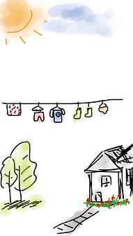 House, Laundry, Clothes, Laundry Day, Trees, Sun, Sunny
