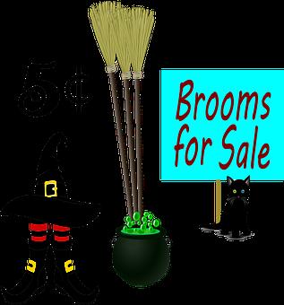 Brooms, Witch, Hat, Cat, Black Cat, Halloween, Broom