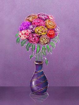 Vase, Bouquet, Figure, Still Life, Postcard, Roses