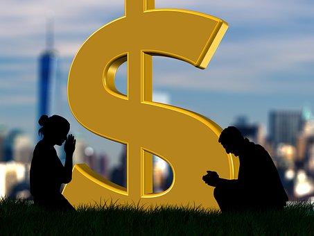 Dollar, Characters, Money, City, Economy, Pray