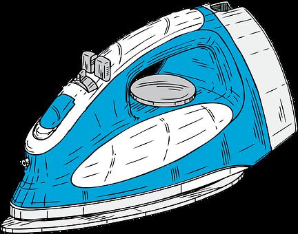 Iron, Blue, Appliance, Domestic, Straighten, Wrinkle