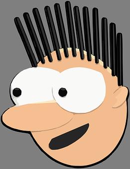 Man, Face, Head, Big Eyes, Round, Spikes, Spiky, Hair