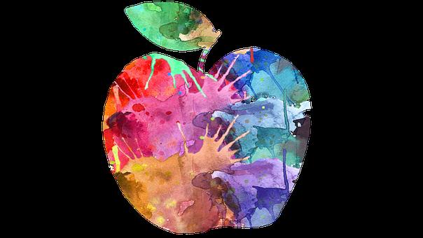 Apple, Stylized Apple, Fruit, Food, Nature, Healthy